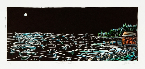 Atlantic Blue: Relief Print, Hand-tinted, Edition of 12 Approx. 5″h x 12″w SOLD OUT