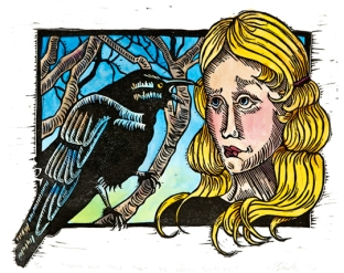 SOLD OUT! Same Old Tale that the Crow Told Me: Relief Print, Hand-tinted, Edition of 10 Approx 6.5″h x 8.25″w $10 incl. tax