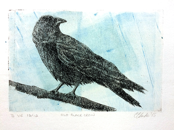 ONLY 3 Left! Old Black Crow: Etching, Monoprint Variated Edition of 12 Approx. 4″h x 6″w  $40 incl tax